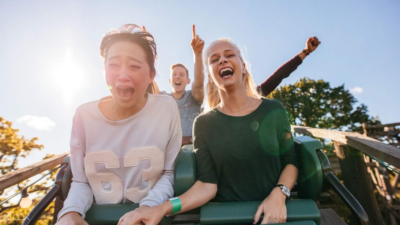 friends on rollercoaster in sunway lagoon