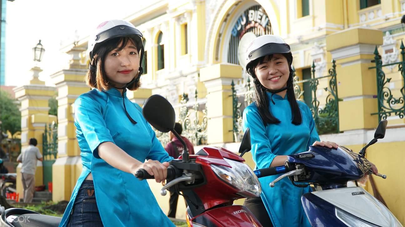saigon adventure day tour with aodai rider