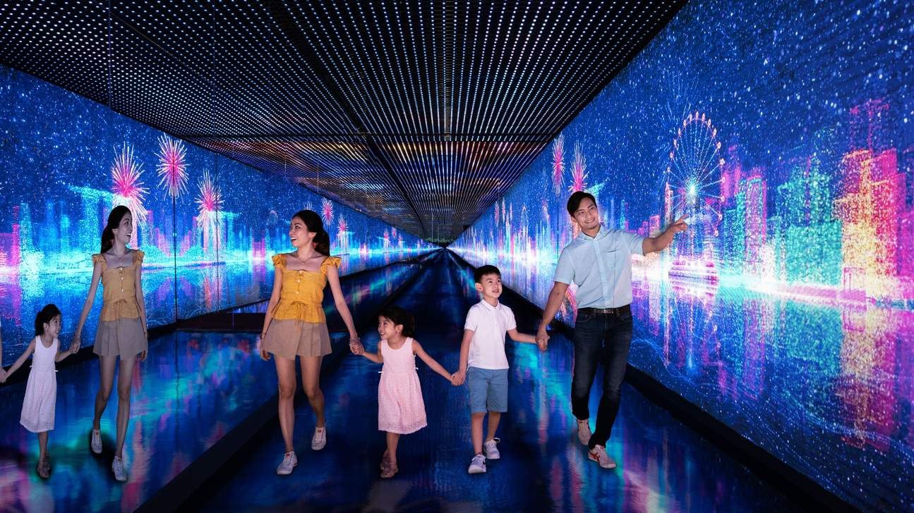 a family exploring the Singapore Flyer