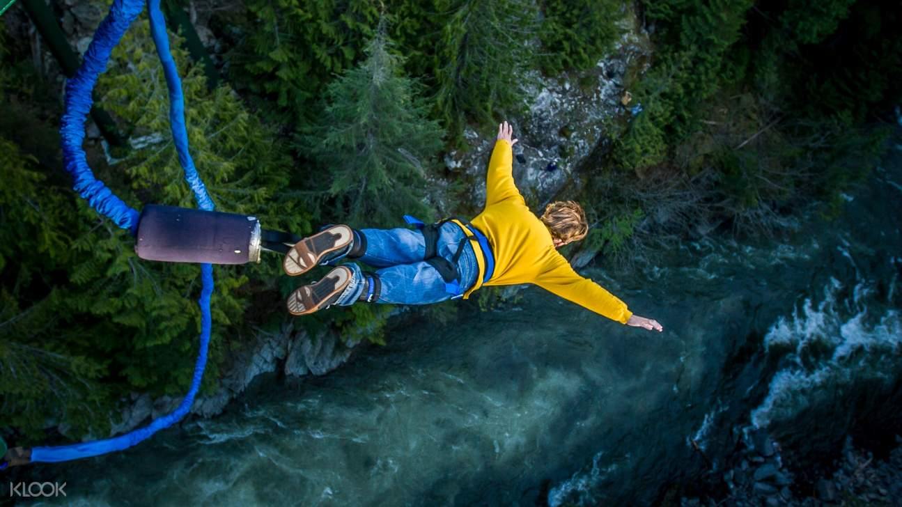 person bungee jumping