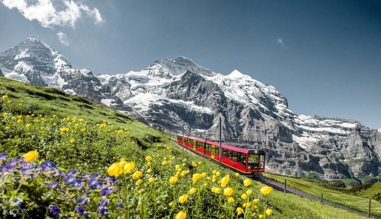 a view of the Jungfrau railway line