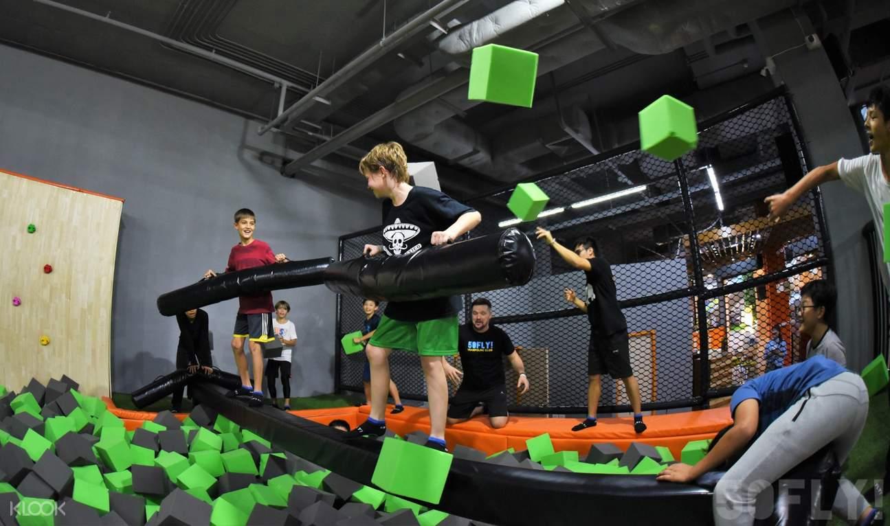 kids in foam pit 50fly trampoline club