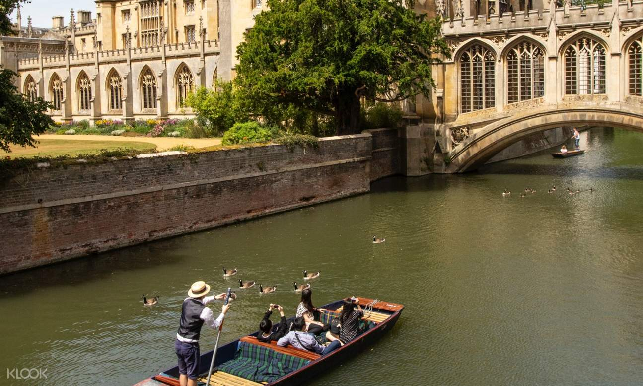 tourists on punt looking at a passageway in the ricer
