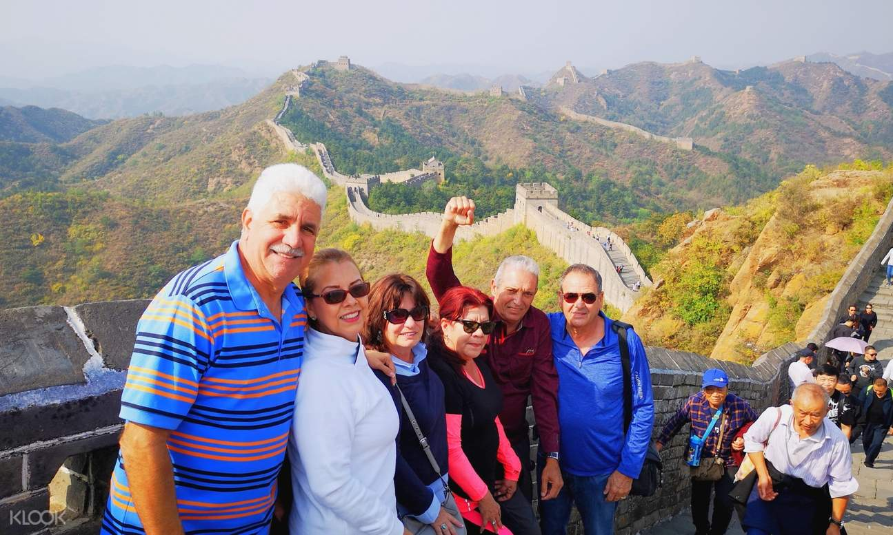 a group of tourists in Great Wall