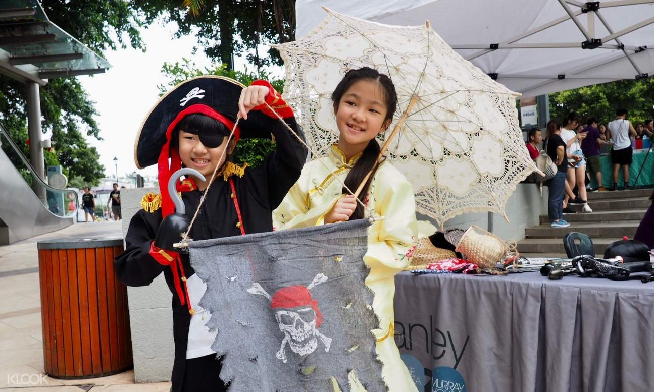 kids dressed up as a pirate and Chinese villager