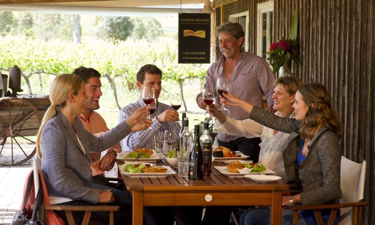 group of people dining and clinking wine glasses