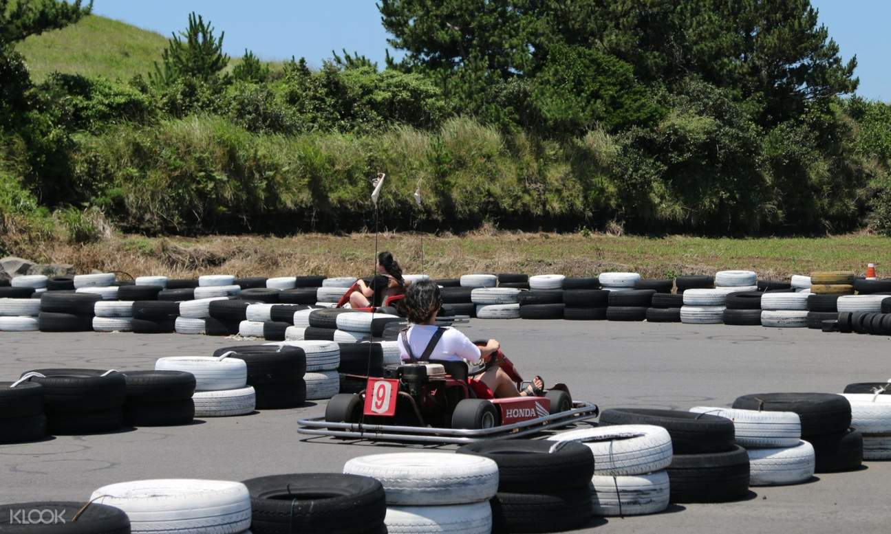 people riding a go kart