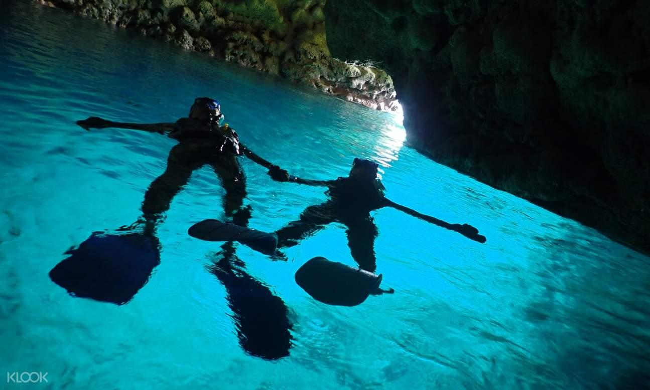 onna village blue cave