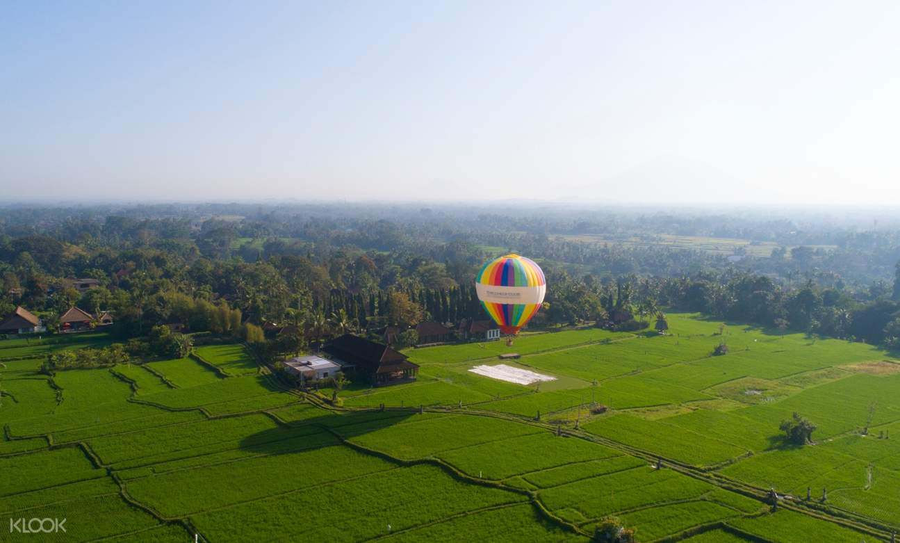 birds eye view of hot air balloon in ubud