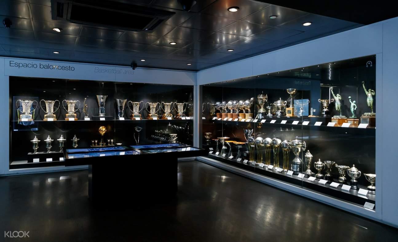 trophy display in bernabéu stadium