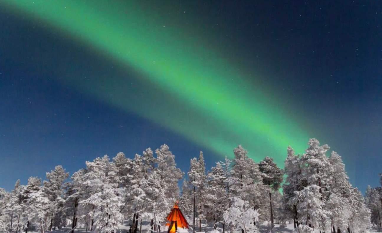 芬兰桑拿,罗瓦涅米极光,雪中桑拿