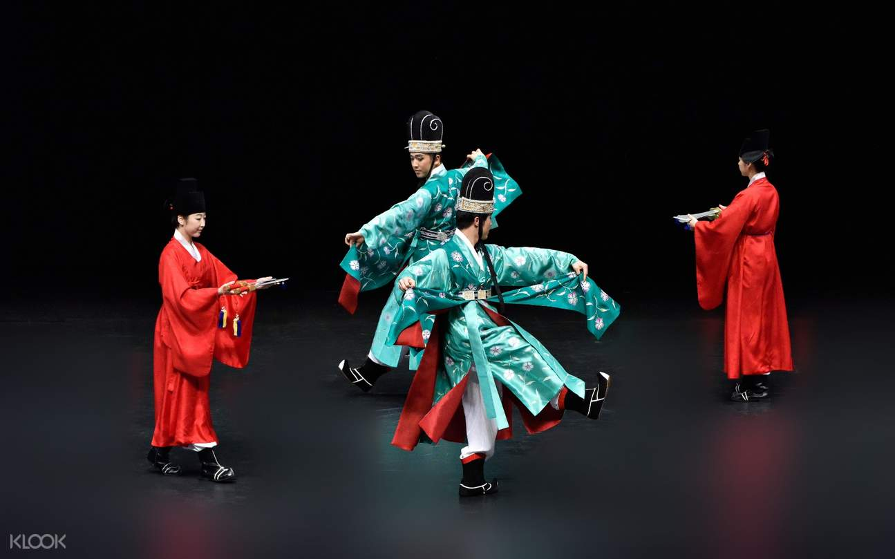 korean men in hanbok dancing onstage