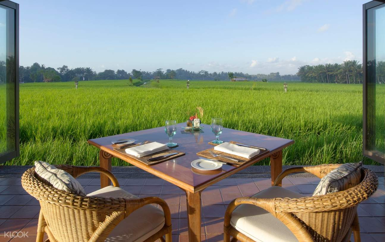 coffee table and chairs with rice paddies view in front