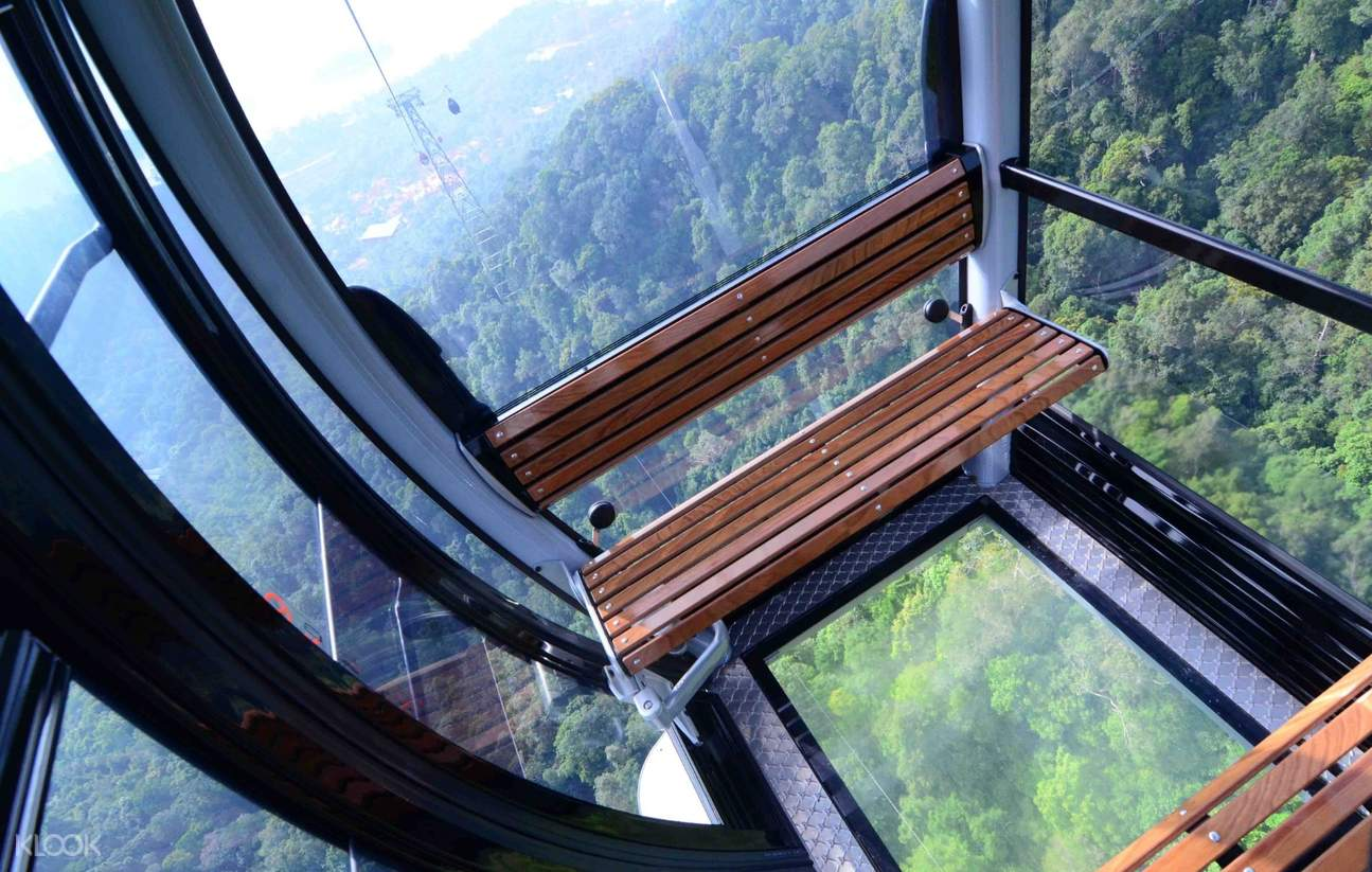 seats inside glass bottom gondolas