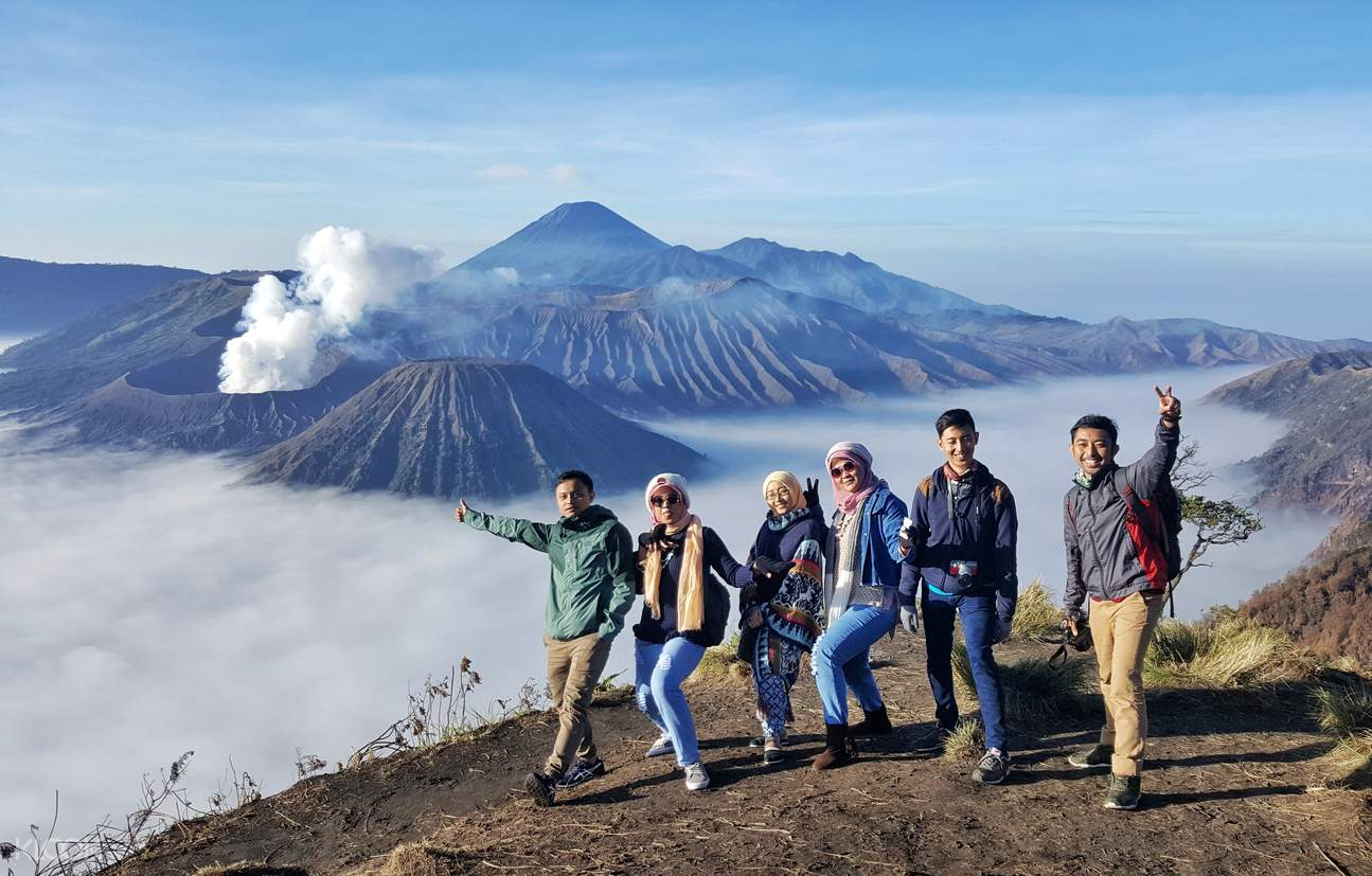 a camp in a high place somewhere in the Mount Bromo area