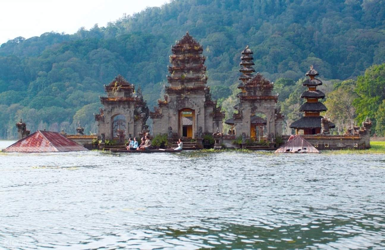 ancient structures and lake in bali