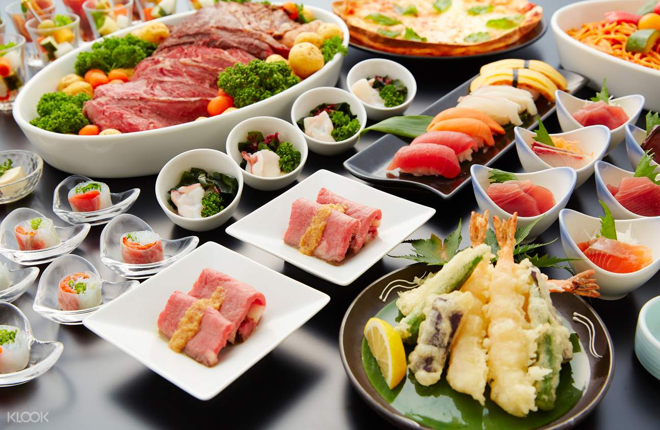 Buffet style meal is waiting after the whole trip