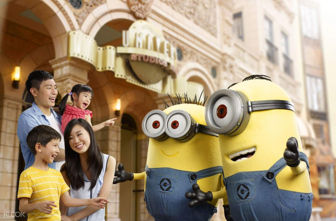 a family interacting with Minion mascots in Universal Studios Singapore?