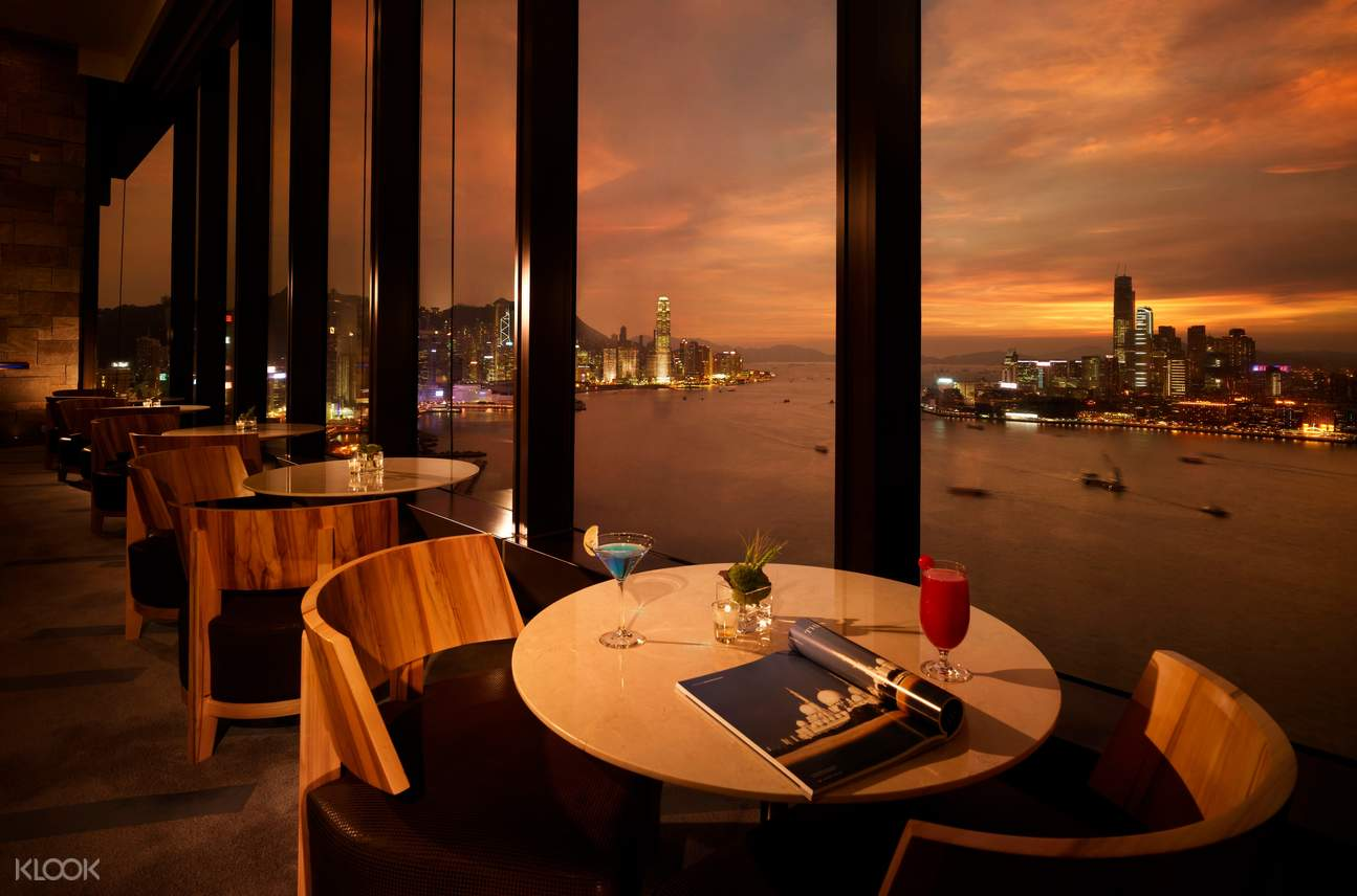 view at the Harbour Club Lounge during sunset