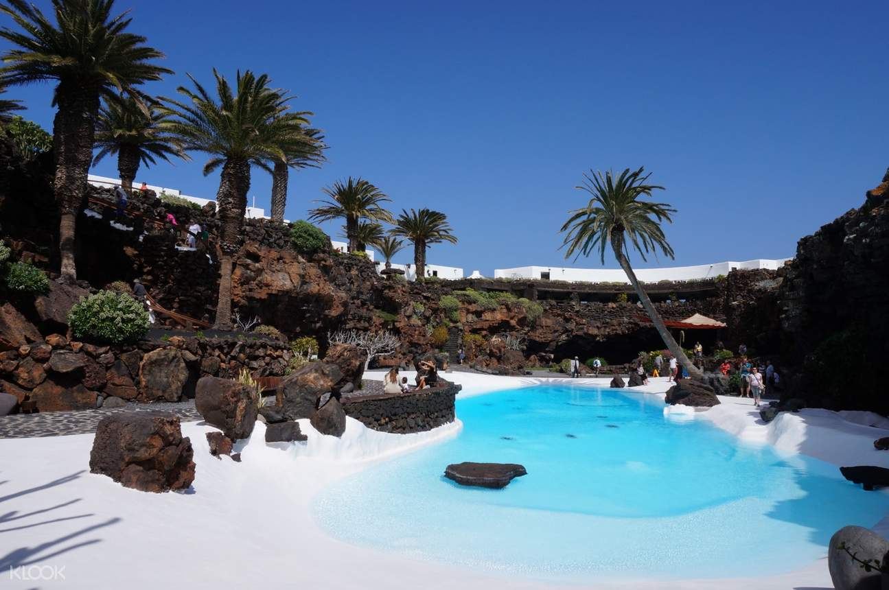 water pool and trees in jameos del agua