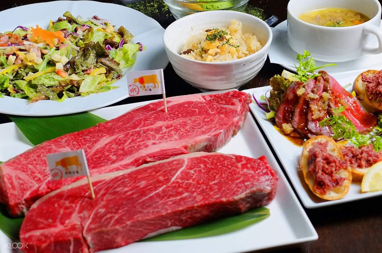 menu spread at Steak House Pound Shinsaibashi