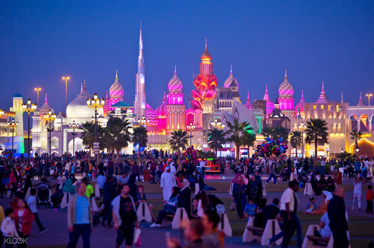 Crowd of tourists at the front off global village Dubai