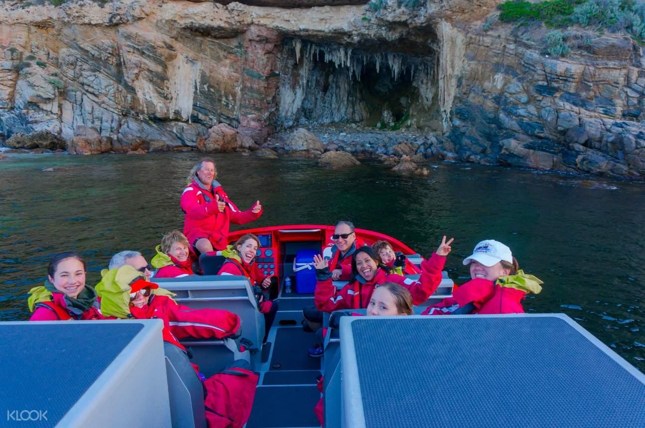 tourists on jet boat