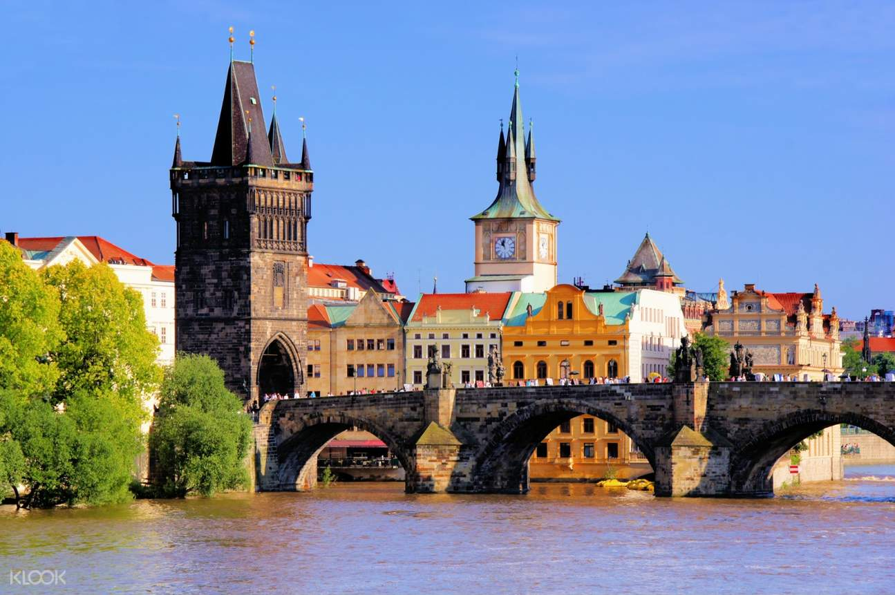 view of charles bridge with pague castle in background