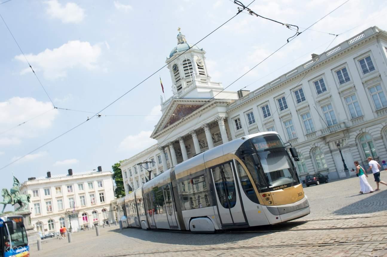 stib public transport train in brussels