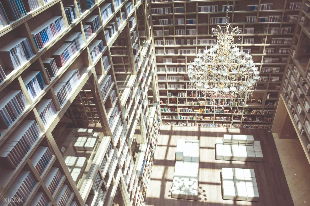library inside gaia hotel