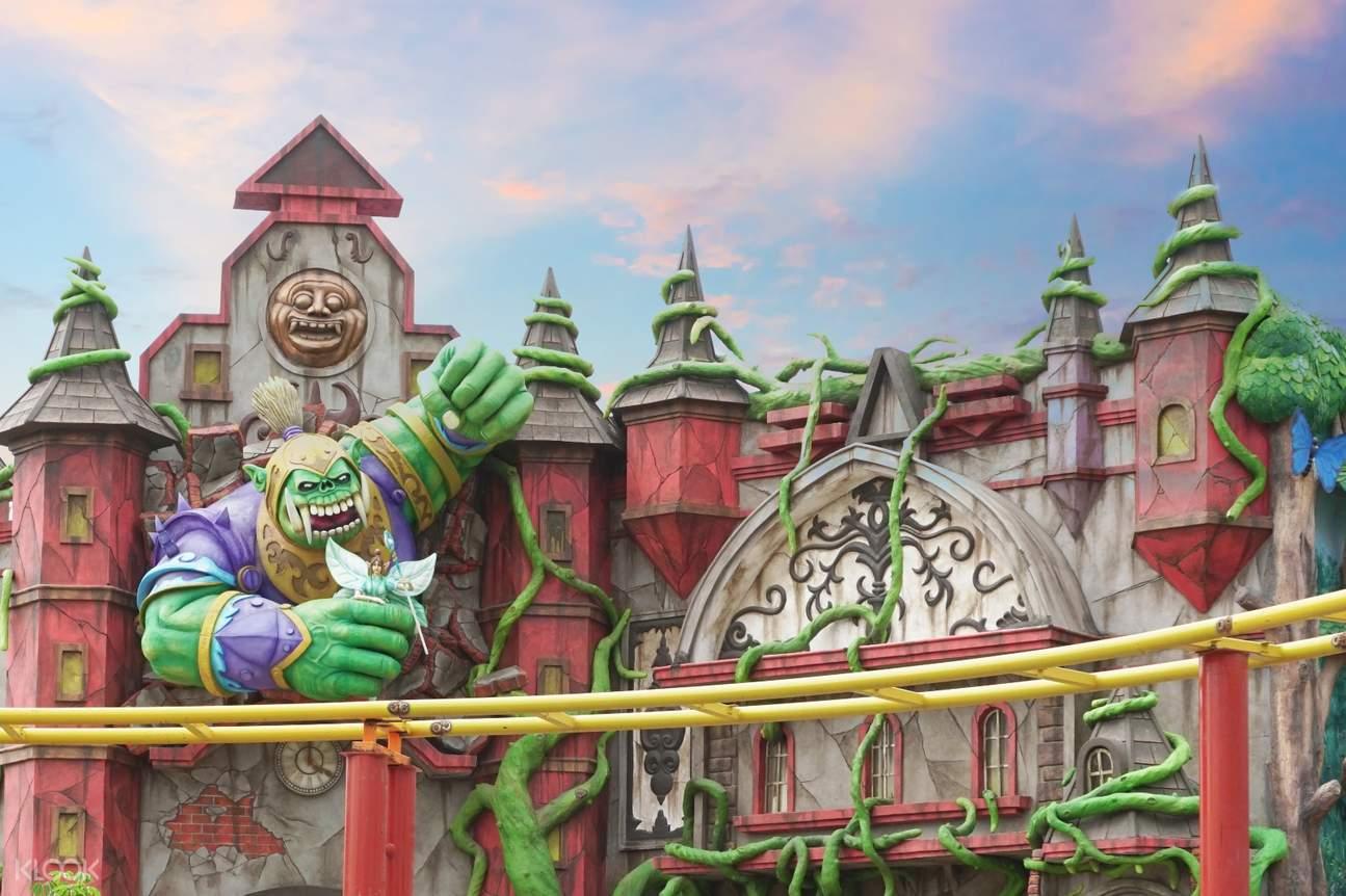 a fantasy-themed rollercoaster ride in Saloka Theme Park