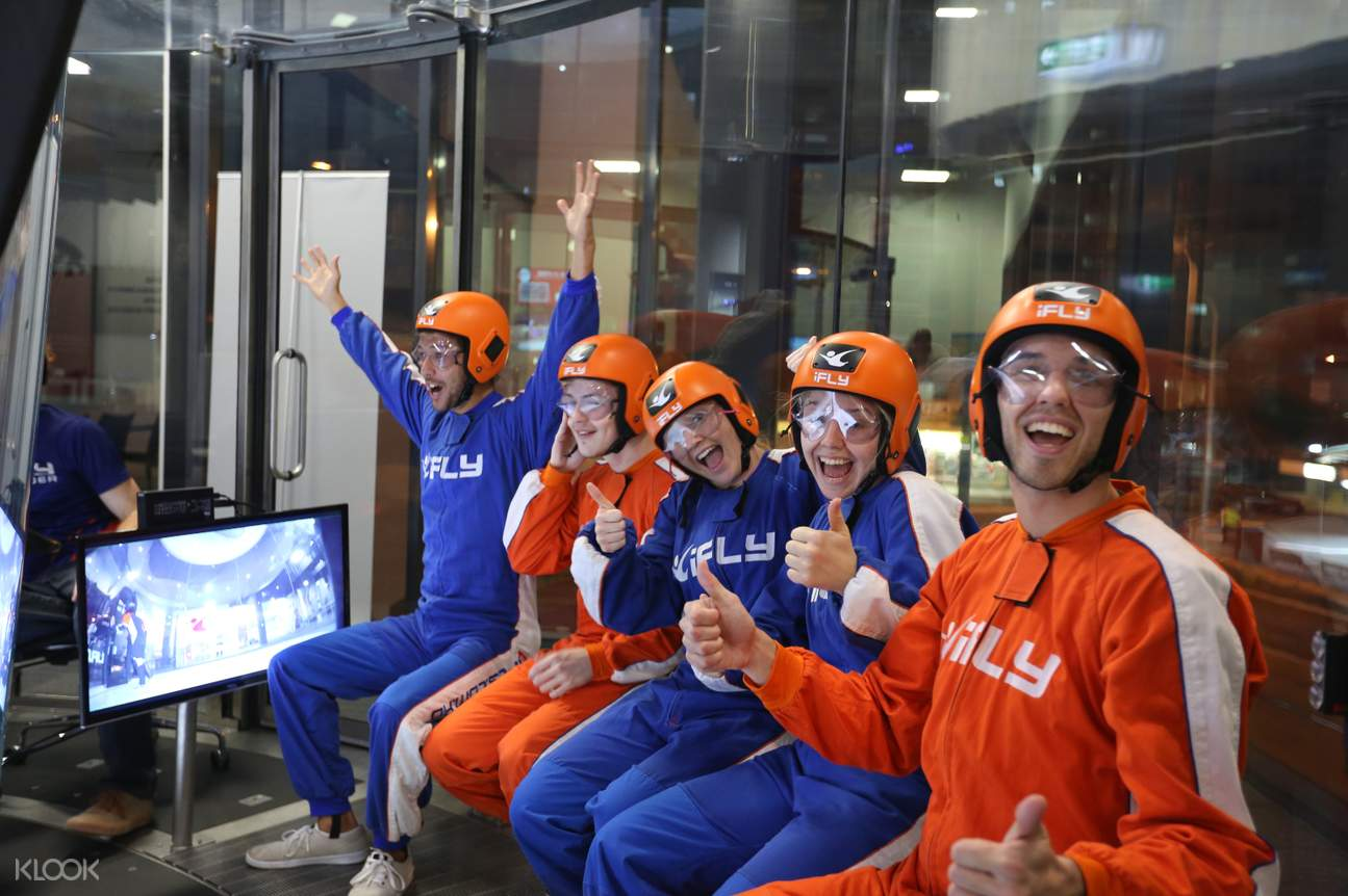 people getting ready for the skydiving simulation at iFLY Downunder
