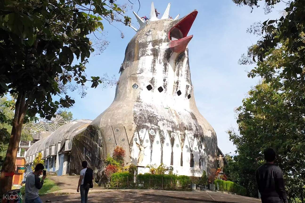 a view of the Gereja Ayam from below