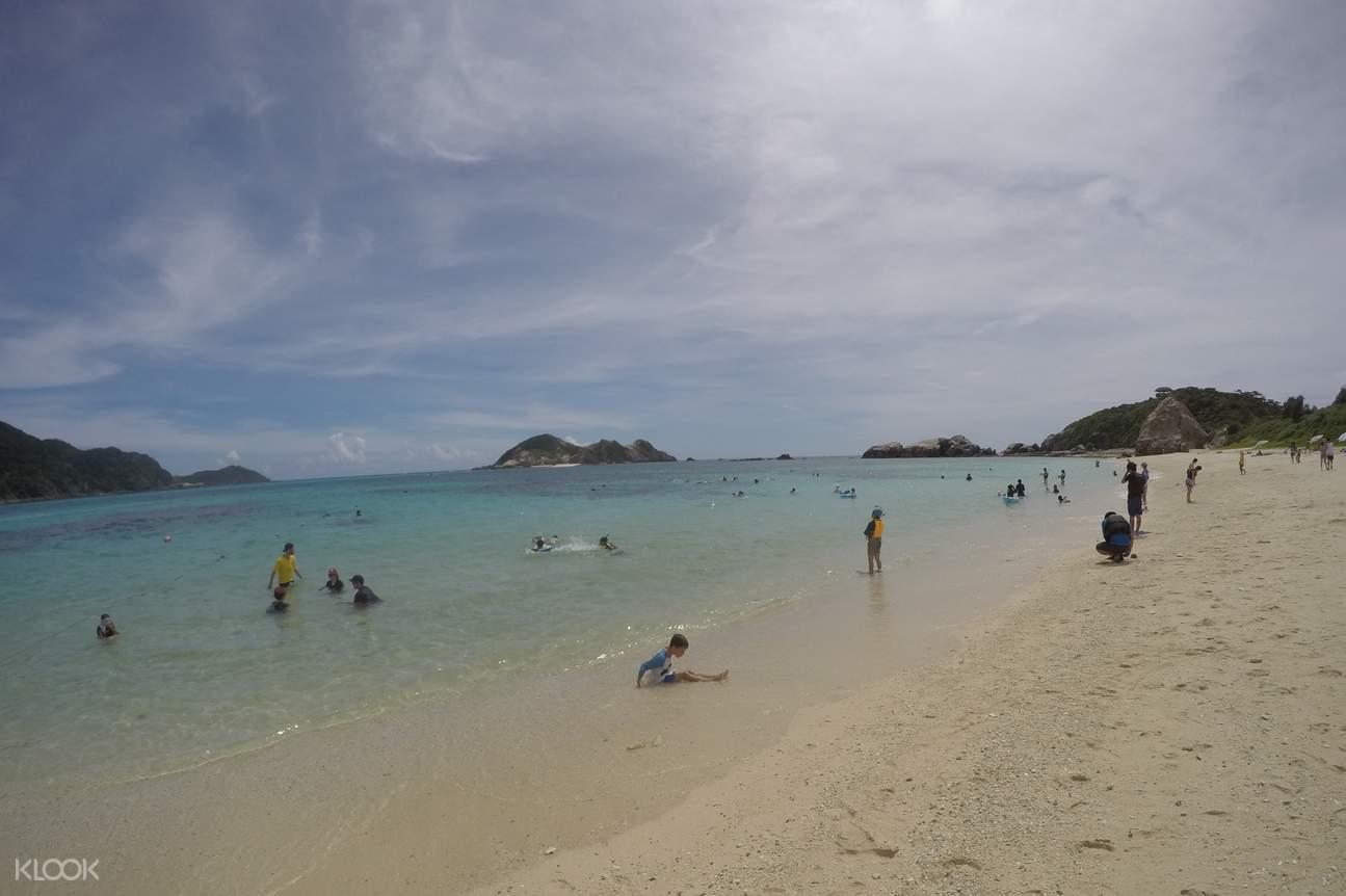 Sunbathing at Aharen Beach