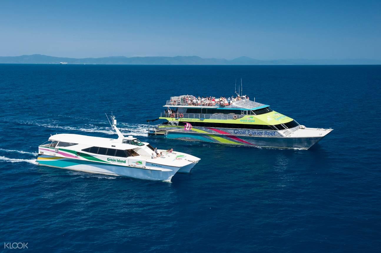 the catamarans of the Green Island Reef Cruise