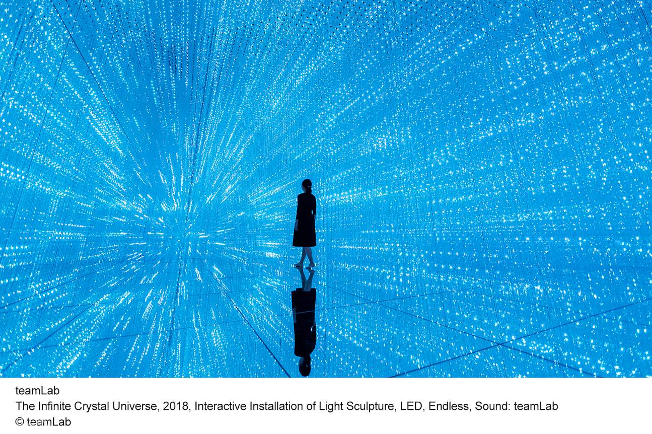 The Infinite Crystal Universe, 2018, Interactive Installation of Light Sculpture, LED, Endless, Sound: teamLab