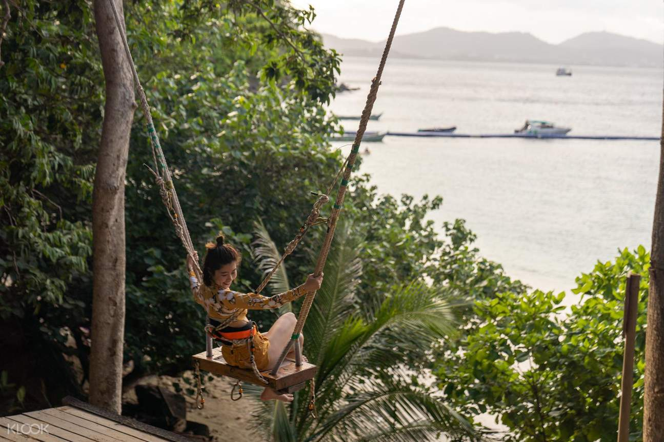 jungle swing and a view of the ocean