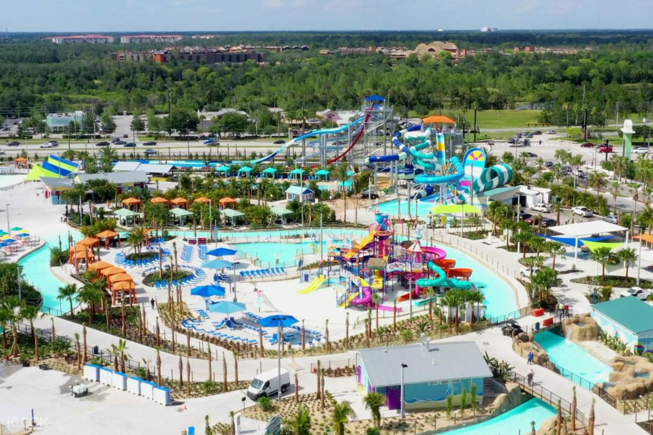 a view of Island H2O Live! slides in Orlando from above