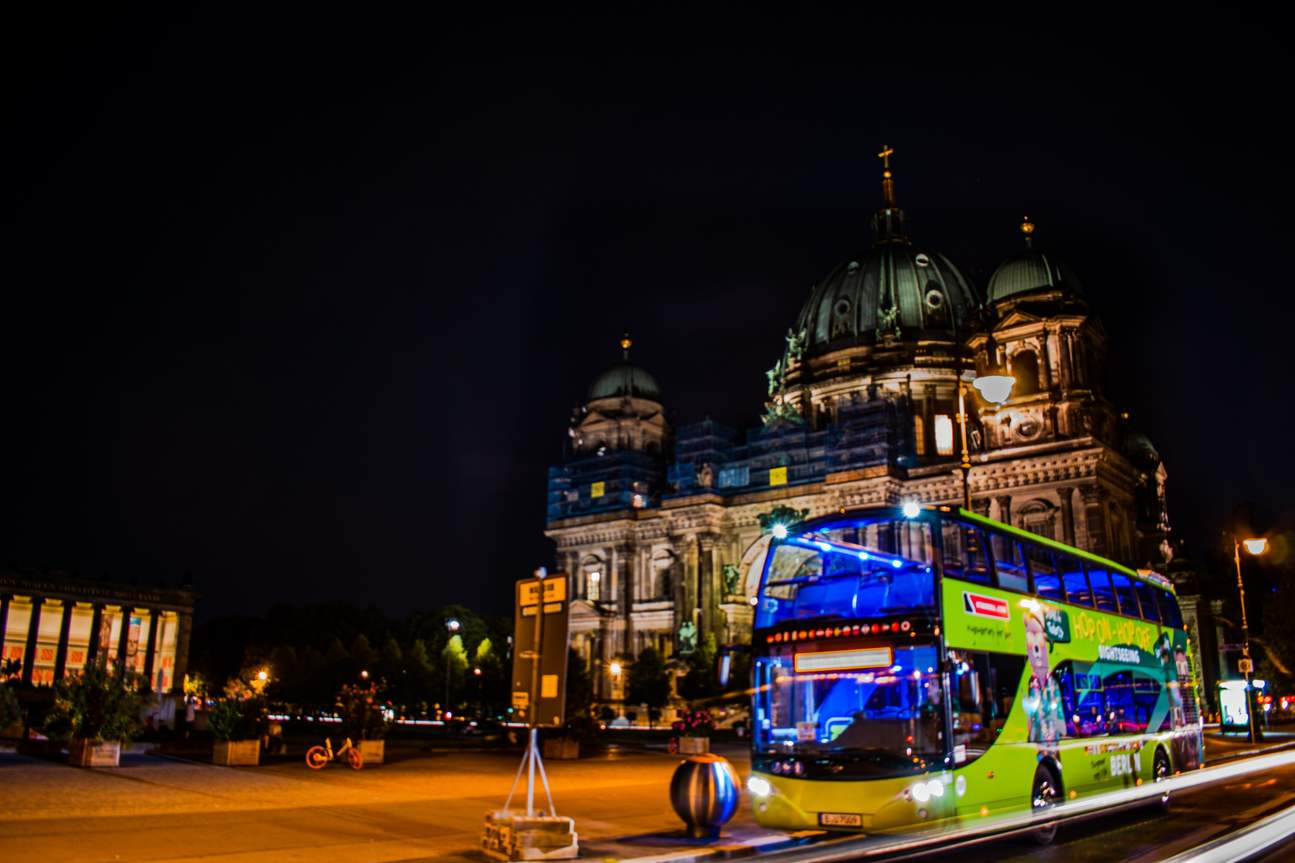 The bus in front of Berlin Cathedral also called Berliner Dom