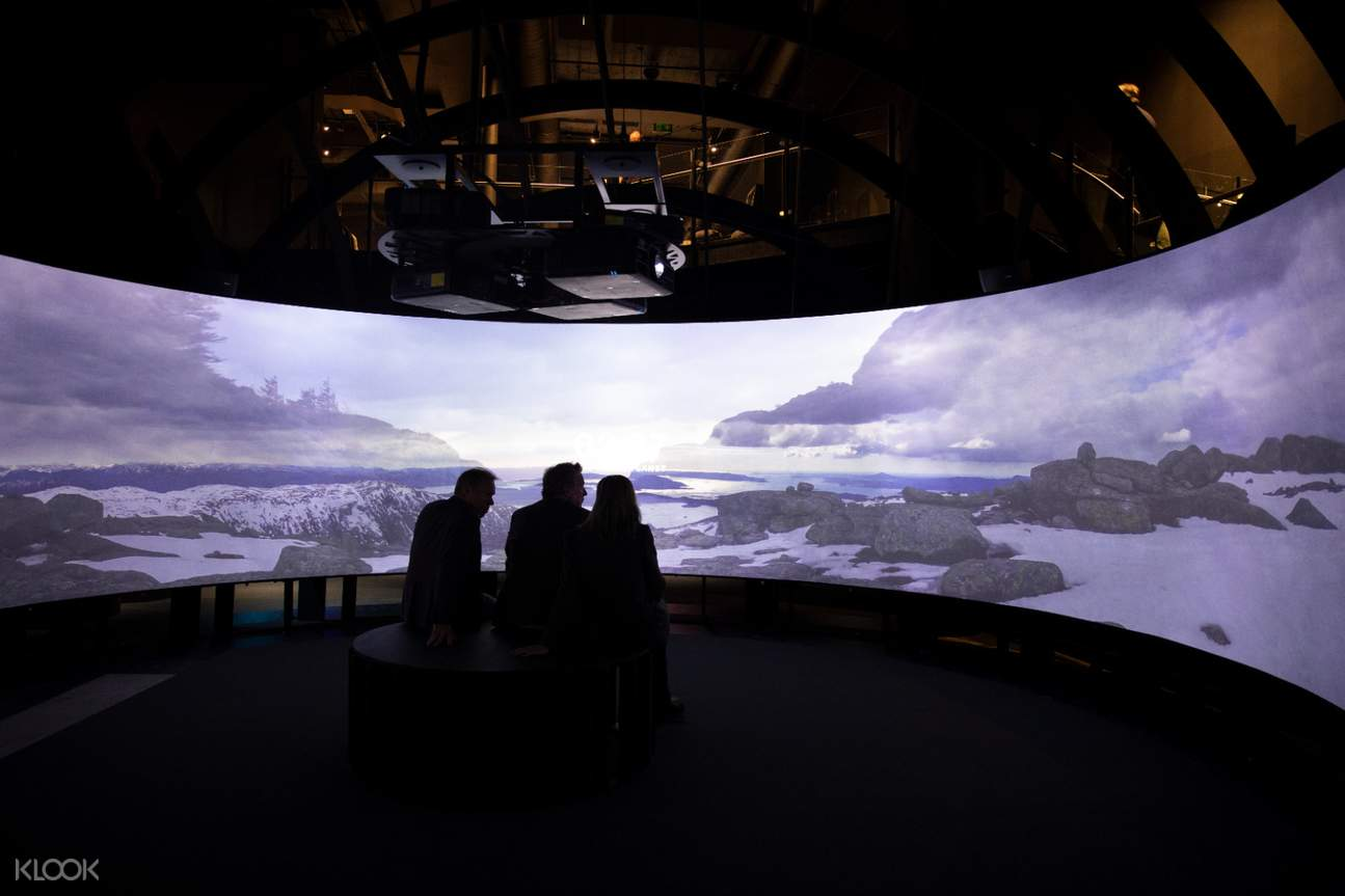 Large screen of Norwegian landscape in The Viking Planet Digital Museum Oslo