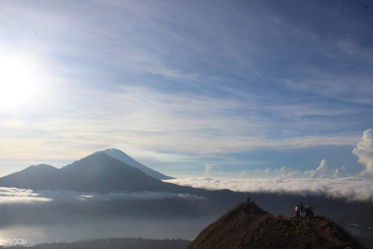 day view of mount batur with hikers