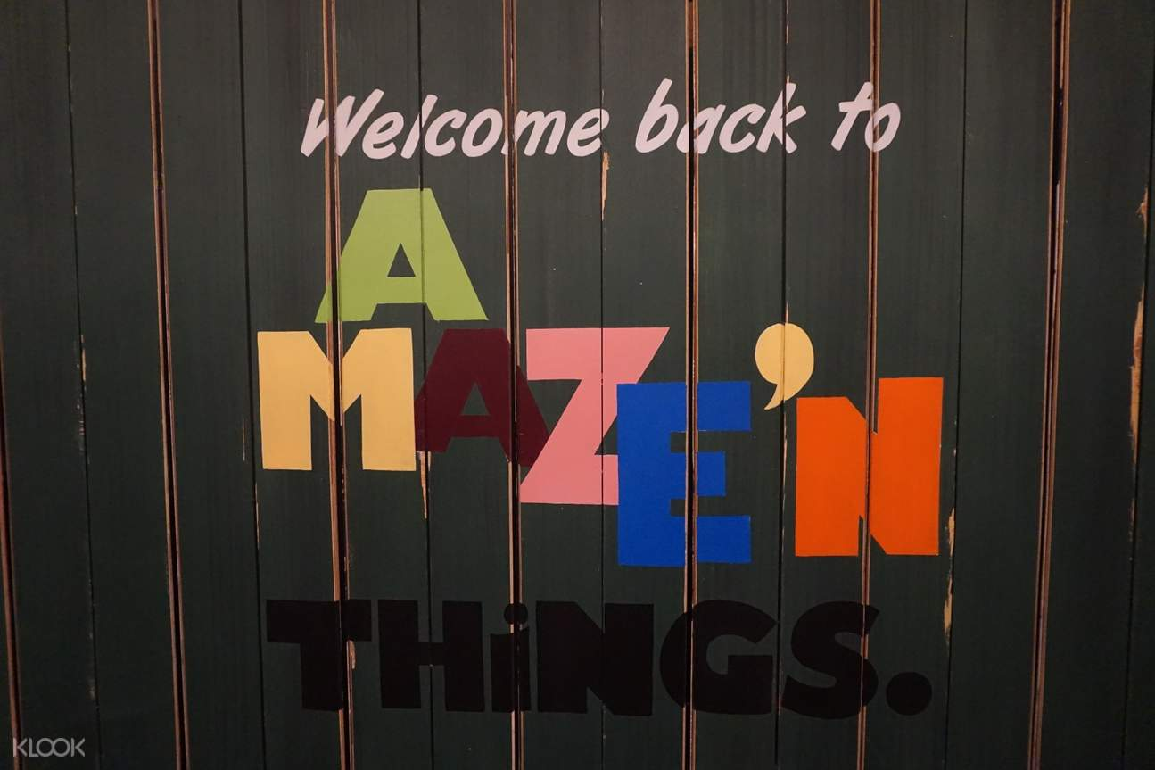 welcome back sign at A Maze'N Things