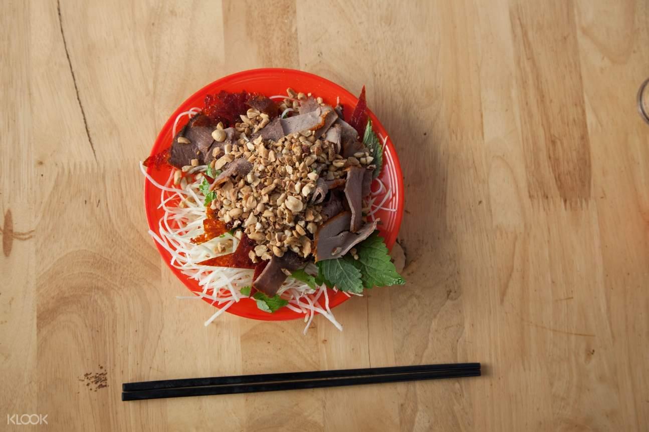 越南 河内美食发现之旅 & 摩托车骑行体验 青木瓜丝拌牛肉干