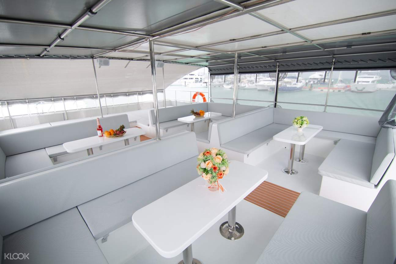 interior of catamaran