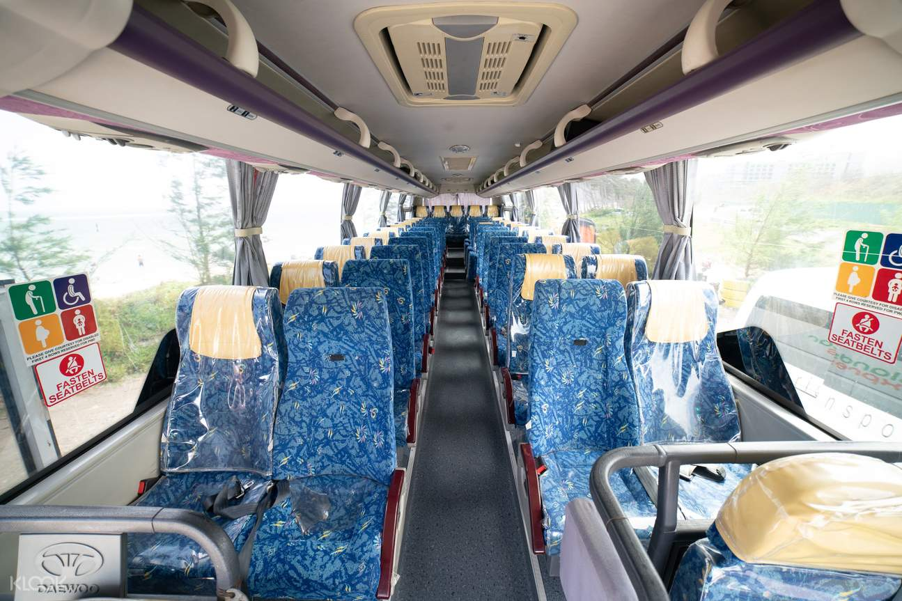 bus interior of a Kalibo International Airport transfer
