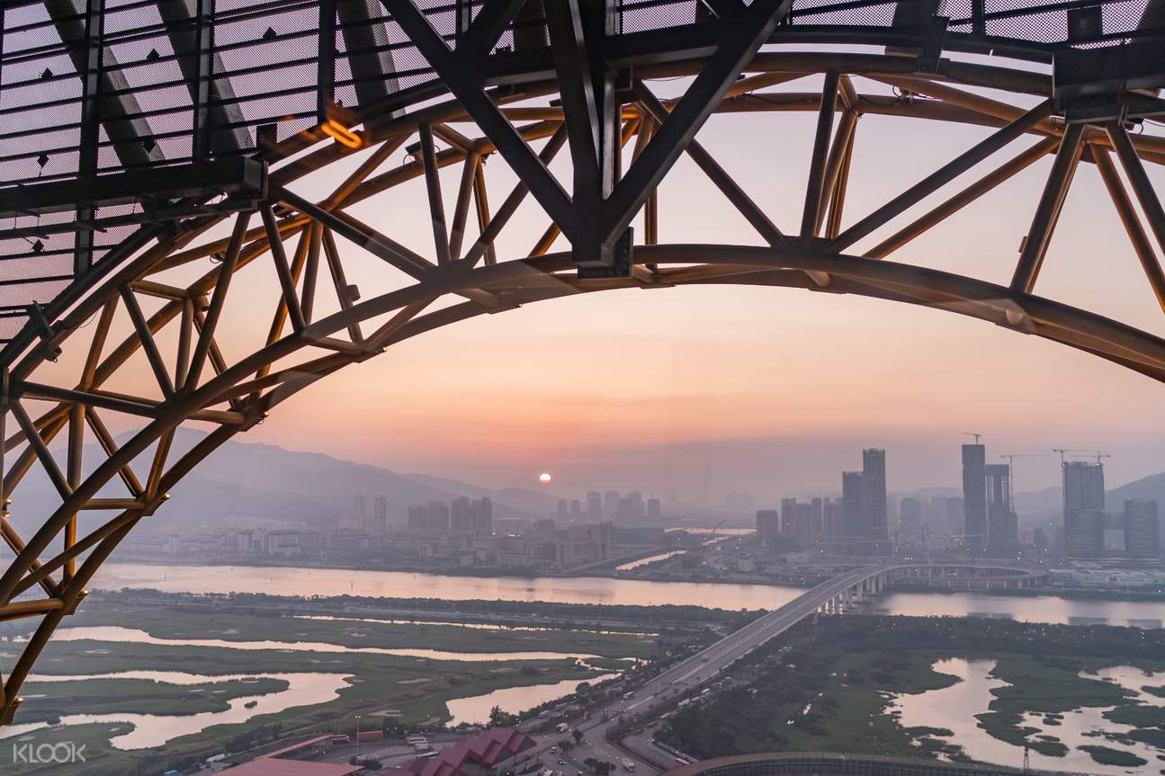 Sunset from Golden Reel Ferris Wheel in Macau