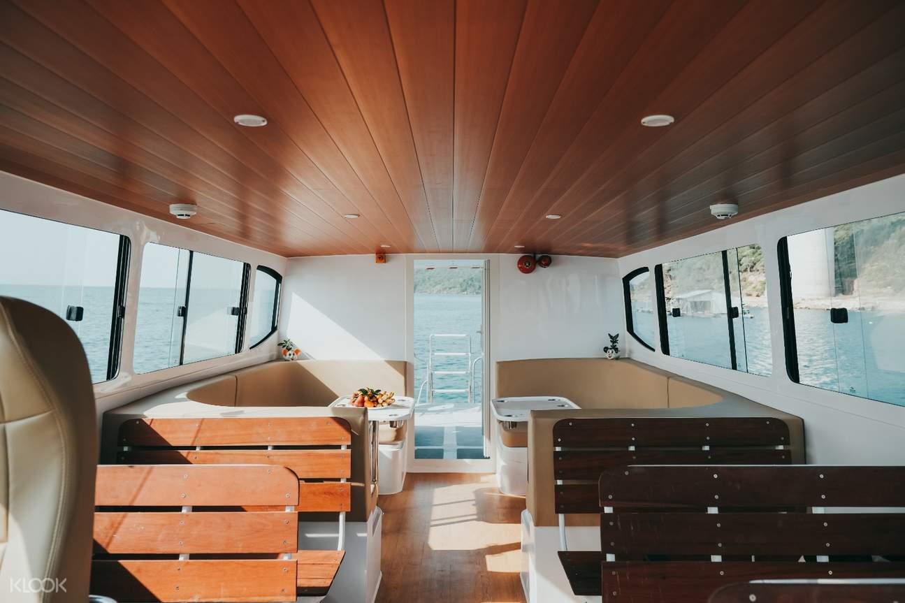 Travel by modern catamaran speedboat