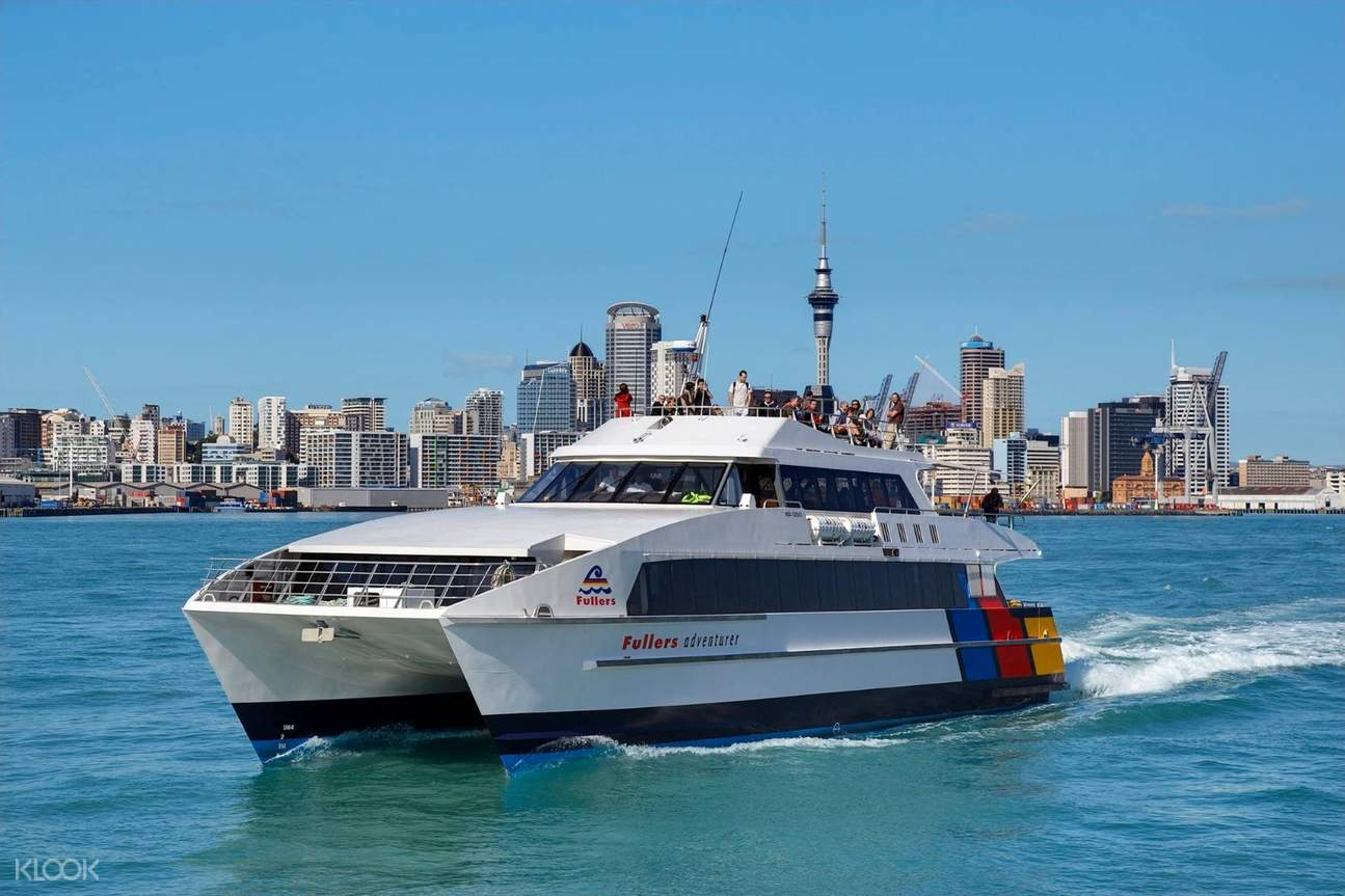 a catamaran departs from Auckland