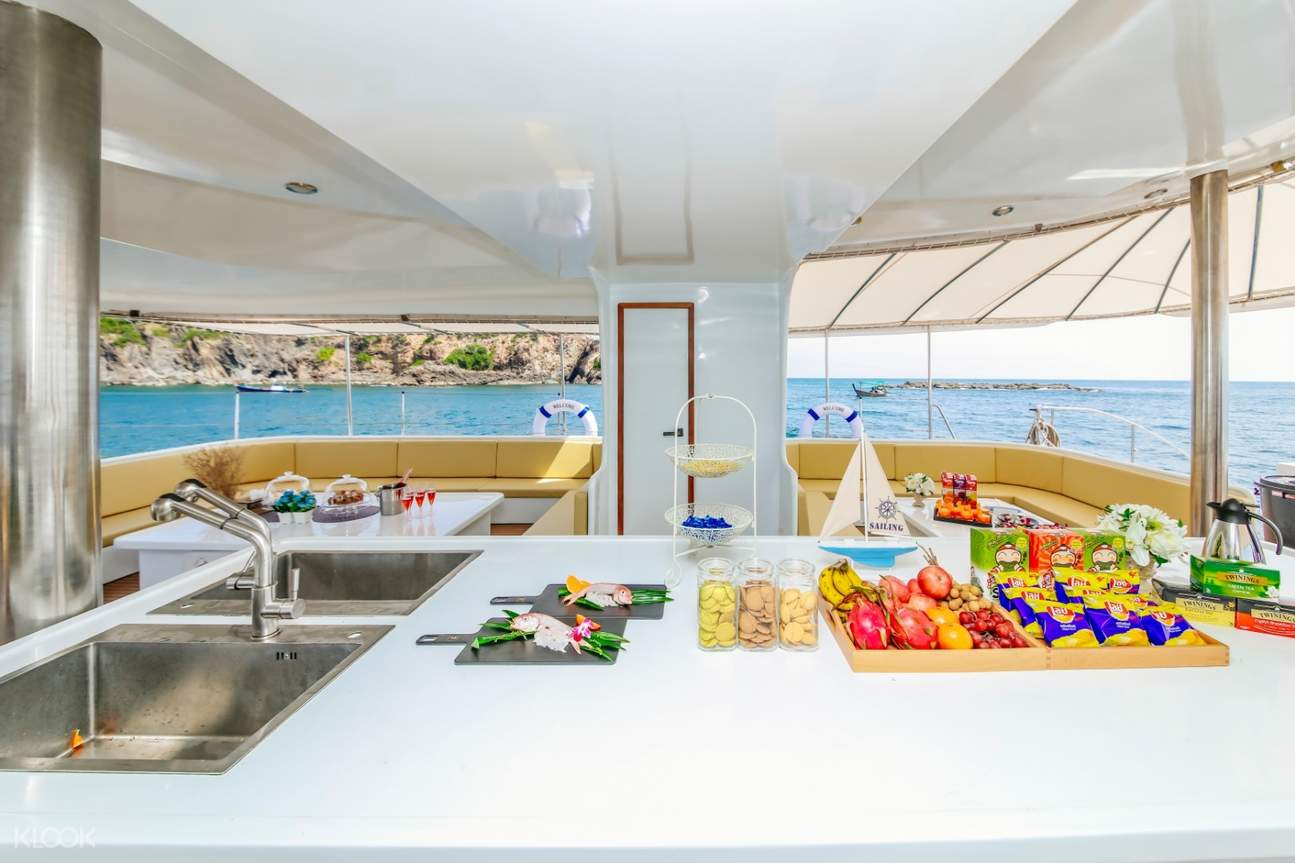 buffet food served inside the catamaran