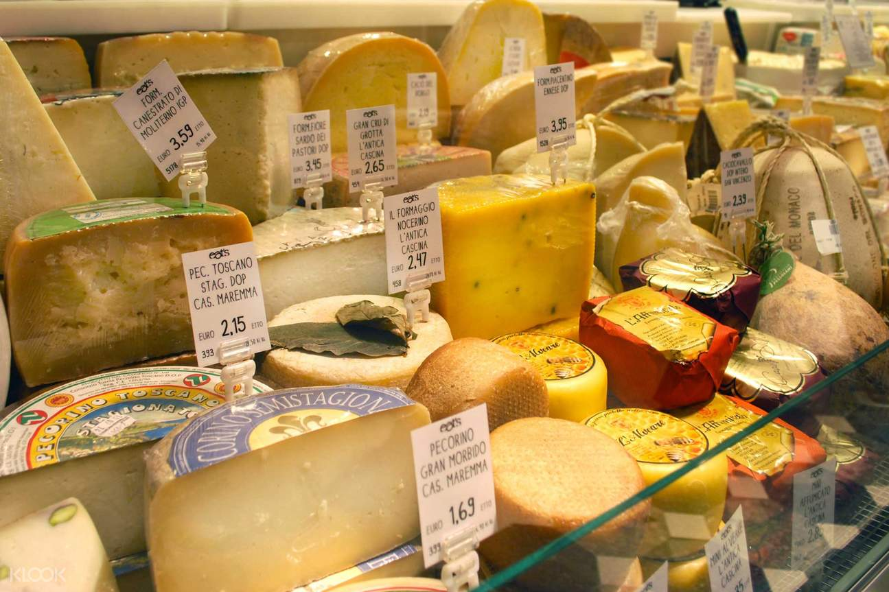 selection of cheese in Milan